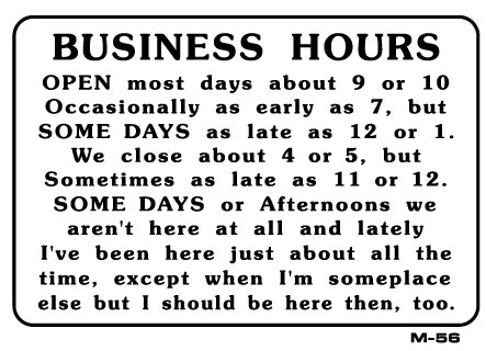Be clear about your hours of operation