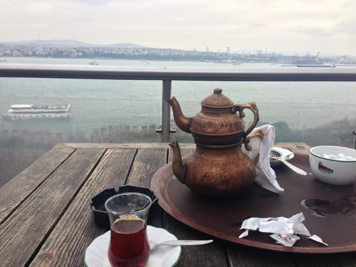Tea time in Istanbul is serious business. There's nothing better than to have it with a stunning view of the Asian side of the Bosphorus.