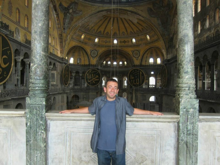 Yours Truly inside the Hagia Sophia in Istanbul.