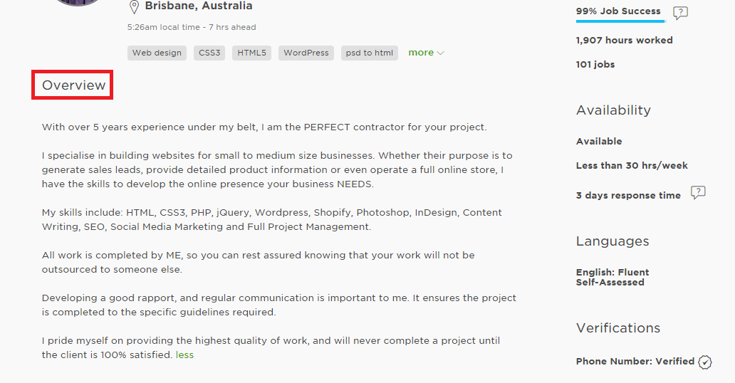 first job on Upwork